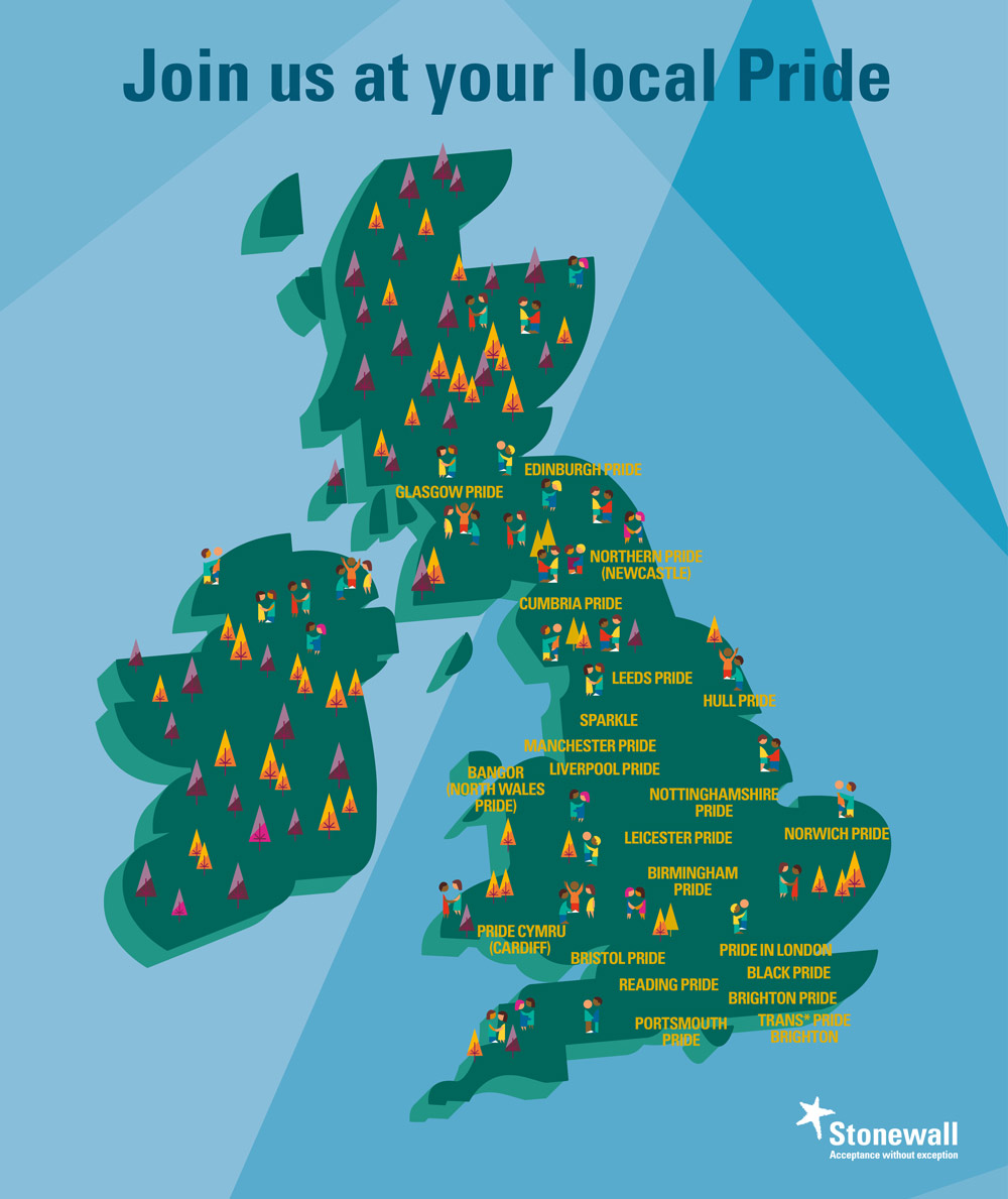 UK map with Pride events Stonewall will be at