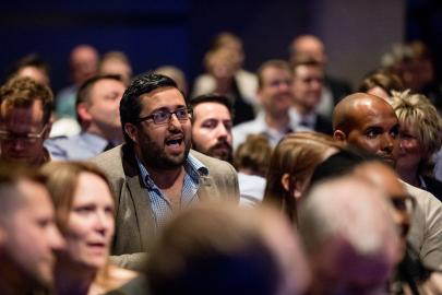 Audience member asking a question at Workplace Conference