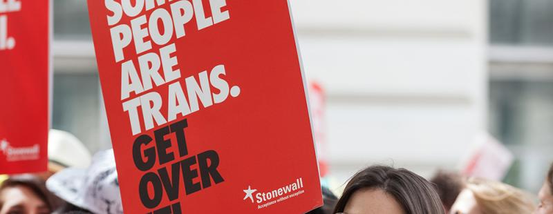 'Some People Are Trans. Get Over It!' placard at Pride in London 2016 © Andy Tyler