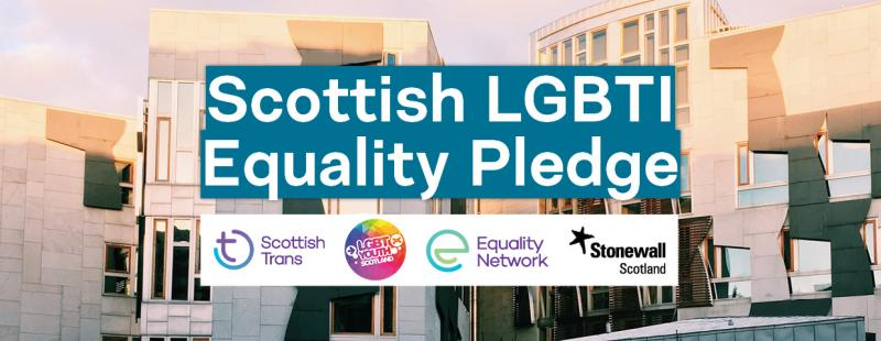 Scottish elections 2021 - LGBTI pledge of support text in front of Holyrood